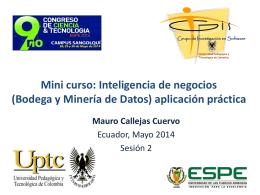 Inteligencia de negocios (Bodega y Minería de Datos) aplicación
