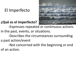 Notes Imperfect Past tense