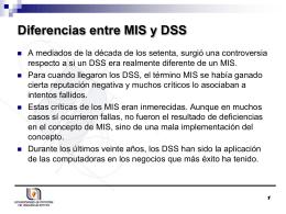 Diferencias entre MIS y DSS - Depto. Sistemas de Información