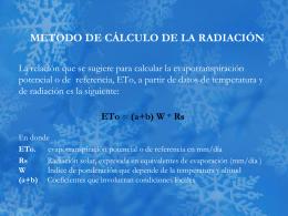 METODO DE CÁLCULO DE LA RADIACION