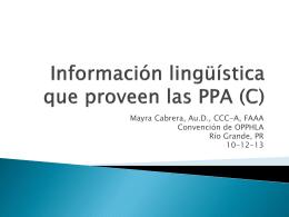 Información lingüística que proveen las PPA (C)
