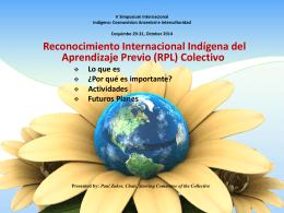 Reconocimiento Internacional Indígena del Aprendizaje Previo (RPL)