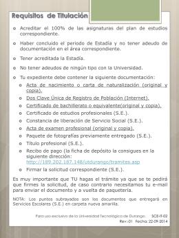 Solicitud de Registro de Título y Expedición de Cédula Profesional