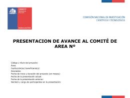 PRESENTACION DE AVANCE AL COMITÉ DE AREA Nº