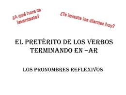 El pretérito de los verbos terminando en *ar