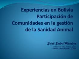 Experiencias en Bolivia Participación de Comunidades