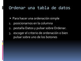 Ordenar una tabla de datos