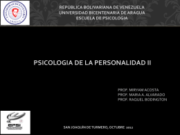 UNIDAD I Aparato Psiquico PERSONALIDAD II.
