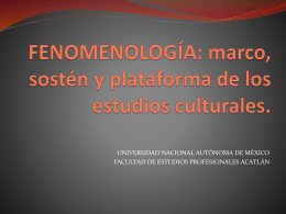 FENOMENOLOGÍA: marco, sostén y plataforma de