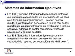Características de los Sistemas de información ejecutivos (EIS)