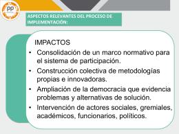 aspectos relevantes del proceso de implementación