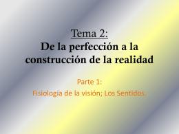 Tema 2: De la perfección a la construcción de la realidad
