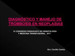 diagnóstico y manejo de trombosis en neoplasias