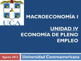 Unidad IV. Economía de Pleno Empleo e ISLM