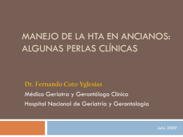 Manejo de la HTA en ancianos: Algunas perlas clínicas