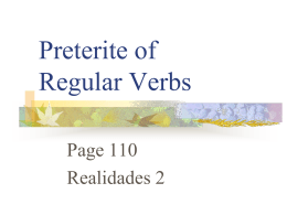 Preterite of Regualr Verbs