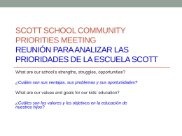 Scott School Community Priorities Meeting