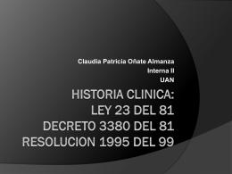 HISTORIA CLNICA: Implicaciones Legales