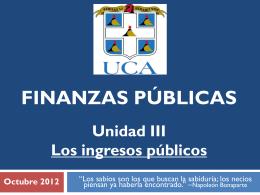 Unidad III. Los ingresos públicos