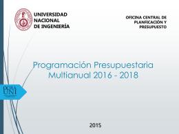 Programación y Formulación Anual del Presupuesto 2016