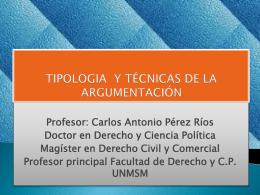 TIPOLOGÍA Y TECNICAS DE ARGUMENTACIÓN