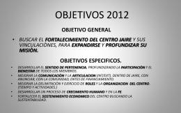Jaire 2012 Objetivos - Asociacion Anunciar