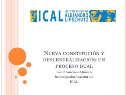 Nueva constitución y descentralización: un proceso dual