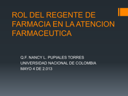 rol del regente de farmacia en la atencion farmaceutica