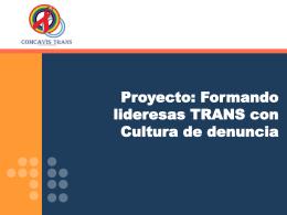 Cultura de Denuncia en mujeres TRANS.