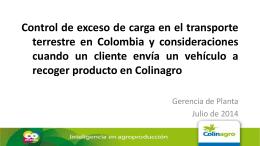Control de exceso de carga en el transporte terrestre en Colombia y