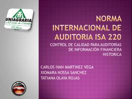 norma internacional de auditoria isa 220 - NIAs-ISAs