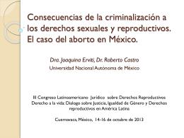 Consecuencias de la criminalización a los derechos sexuales y