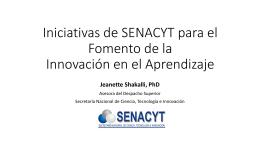 Iniciativas de SENACYT para el Fomento de la Innovación