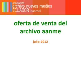 oferta de venta del archivo aanme