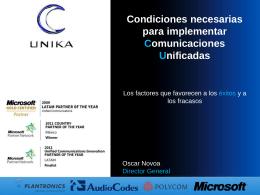 Condiciones necesarias para implementar Comunicaciones