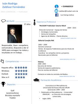 Iván Rodrigo Zaldívar Fernández AREA COMERCIAL > Publicidad +
