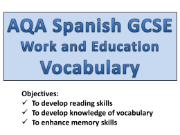 AQA Spanish GCSE Work and Education - MORGAN MFL