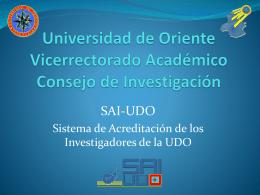 Sistema de Acreditación de los Investigadores de la UDO