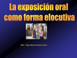La exposición oral como forma elocutiva