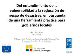 Vulnerabilidad territorial hacia la reducción de riesgo de desastres|