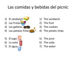 Las comidas y bebidas del picnic
