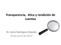 Transparencia, ética y rendición de cuentas