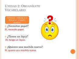 Unidad 2: Organízate Vocabulario