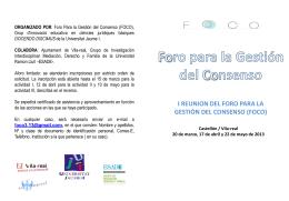 FOCO. Foro para la gestión del consenso - Ajuntament de Vila-real