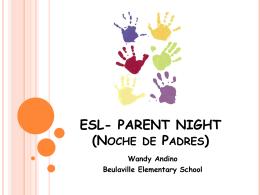 ESL- PARENT NIGHT (Noche de Padres)