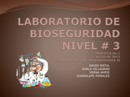 LABORATORIO DE BIOSEGURIDAD NIVEL # 3 PRACTICA No 1 11