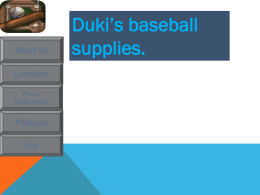 Duki`s baseball supplies.