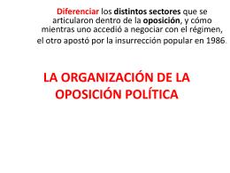 LA ORGANIZACIÓN DE LA OPOSICIÓN POLÍTICA