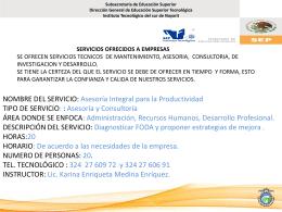 SERVICIOS OFRECIDOS A EMPRESAS SE OFRECEN SERVICIOS