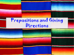 Prepositions and Giving Directions